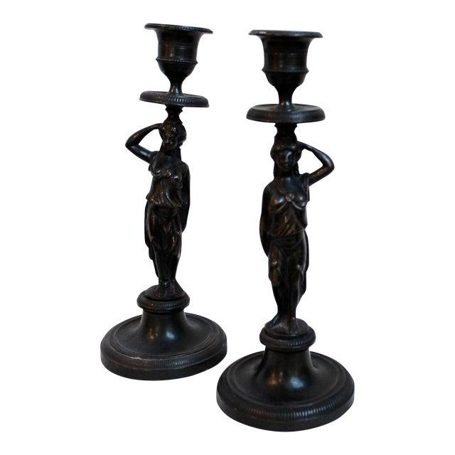 19th Century Caryatid Candlesticks - Pair For Sale