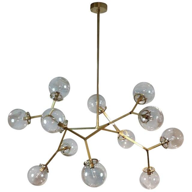 "Brass & Glass Model 525 ""Macro Molecular"" Chandelier by Blueprint Lighting, 2018 For Sale"