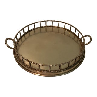 Vintage Polished Brass Bamboo Handled Tray For Sale
