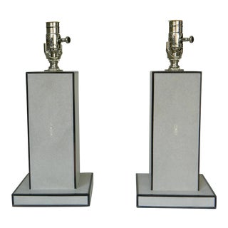 Grey Shagreen Lamps - A Pair For Sale