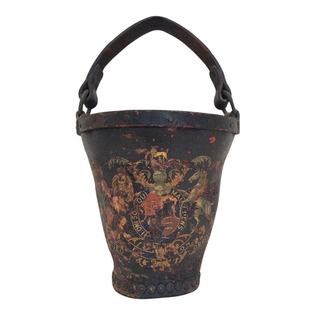 Antique Leather Coat of Arms Fire Bucket - Image 1 of 9