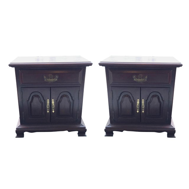 Kling Colonial Mahogany Wood Nightstands - A Pair - Image 1 of 11
