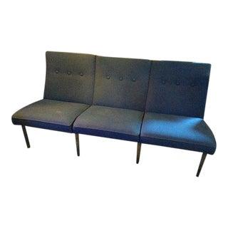 Vintage Mid Century Steelcase Metal Frame Cobalt Blue Sofa For Sale