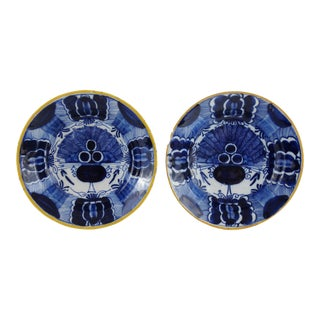 Pair Antique Dutch Delft 'Peacock' Design Plates For Sale