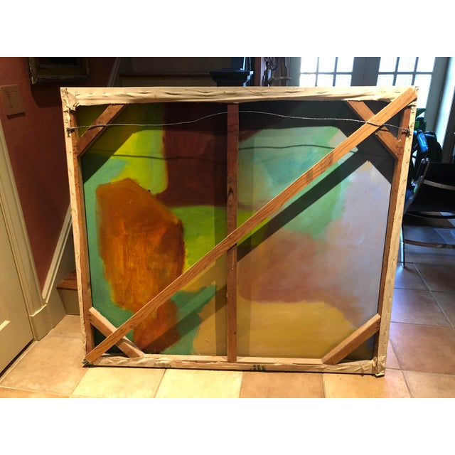Green Large Vintage Mid Century Abstract Oil Painting on Canvas in the Style of Josef Albee's For Sale - Image 8 of 9