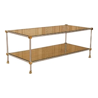 1950s French Directoire Steel and Brass Coffee Table For Sale