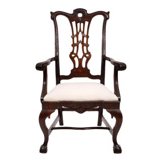 Carved Mahogany Chippendale Style Armchair For Sale