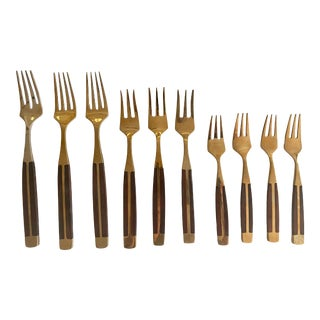 Dansk Style Teak and Brass Fork Collection For Sale