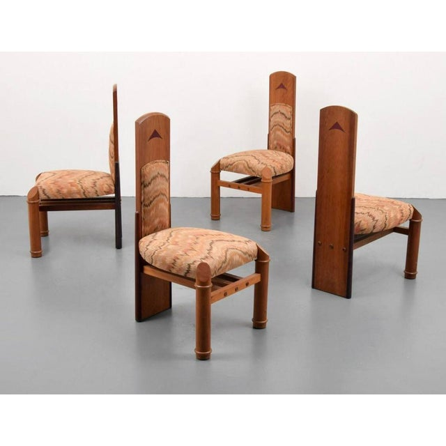 """1980s Post Modern Jack Larimore Handmade """"Fallopian"""" High Back Mahogany Dining Chairs - Set of 4 For Sale - Image 5 of 6"""