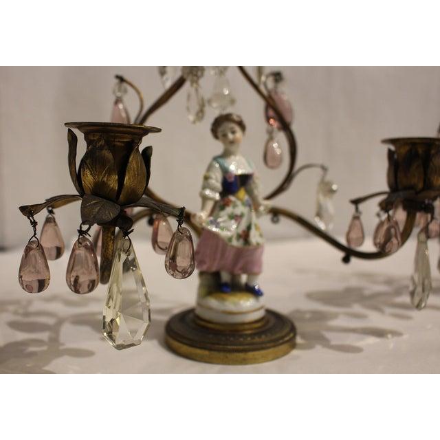 White Gilt Bronze Porcelain Figurine Candelabras - a Pair For Sale - Image 8 of 11