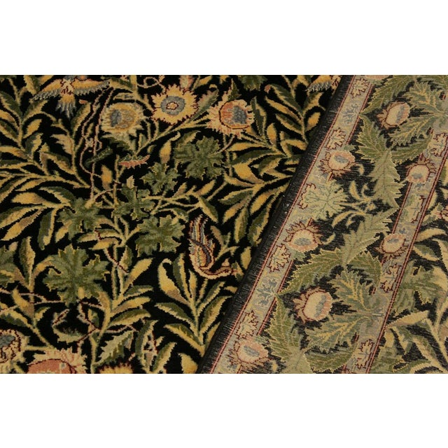 Imran Pak-Persian Danette Black/Green Wool Rug - 4'1 X 6'0 For Sale - Image 4 of 8