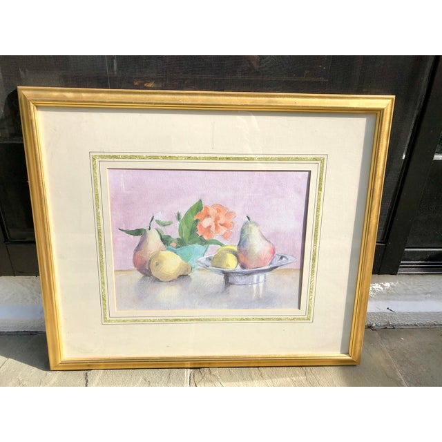 Lovely still life of fruit rendered in watercolor. Elegantly matted and framed in a gilt wood frame. Unsigned.