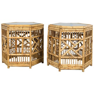 Vintage Mid Century Bamboo Chippendale Hexagonal Side Tables- a Pair
