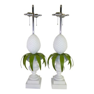 1970s Vintage Norman Perry Hollywood Regency Style Topiary Pineapple Table Lamps - A Pair For Sale