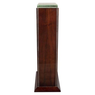 French Art Deco Chrome Mounted Mahogany and Glass Pedestal For Sale