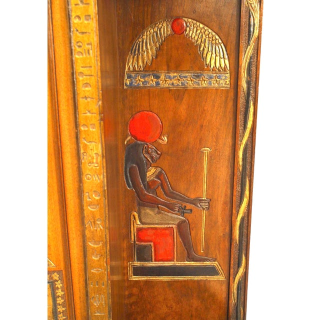 Wood Egyptian Style Painted Hanging Wall Cabinet For Sale - Image 7 of 10