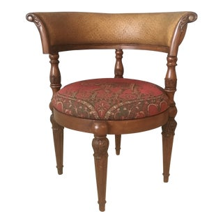 Traditional Wicker and Wood Accent Chair For Sale