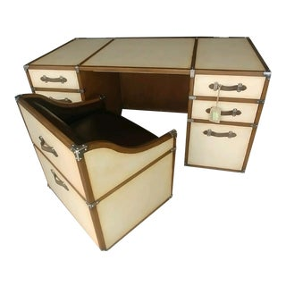 Campaign Century Furniture Vellum Home Office Campaign Trunk Executive Desk with Chairs - 2 Pieces For Sale