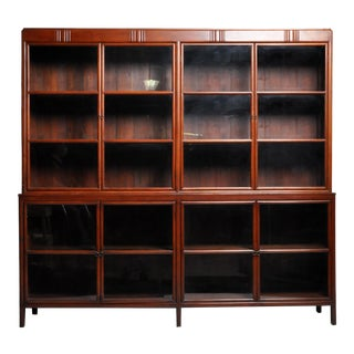 1930s British Colonial Teak Wood Bookcase For Sale