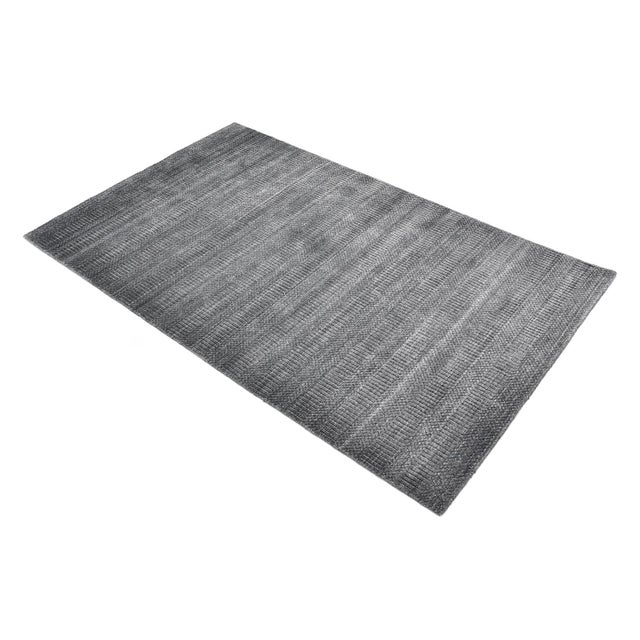 Dark Gray Sanam, Contemporary Solid Hand Loomed Area Rug, Dark Gray, 5 X 8 For Sale - Image 8 of 9