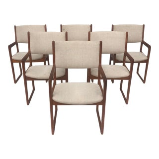 Vintage Modern Teak Dining Chairs- Set of Six For Sale