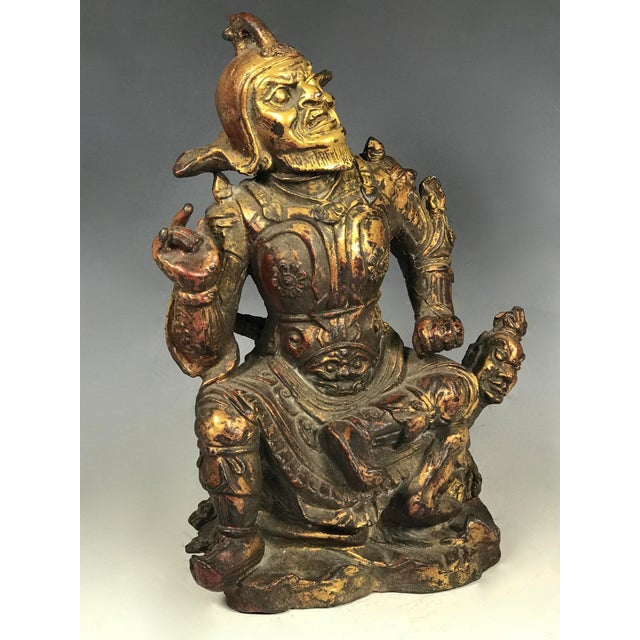 Asian Chinese Art Carved Bronze Warrior For Sale - Image 3 of 11
