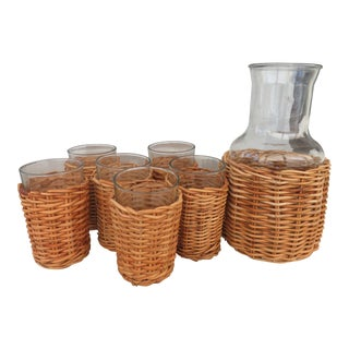 Vintage Rattan / Wicker Wine Carafe and Glasses - Set of 7 For Sale