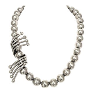 Massive Ugo Correani Chrome Bead Necklace For Sale