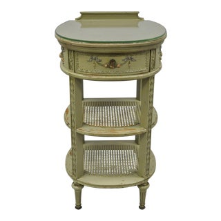 Antique French Louis XVI Style Green Painted Nightstand
