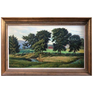 Pastoral Country Side Landscape Oil Painting on Canvas For Sale