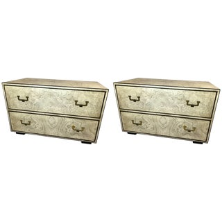 Pair of 20th Century John Widdicomb Burl and Brass Chests For Sale