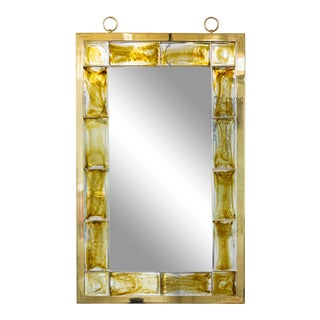 André Hayat Mirror Model 'New York' With Yellow Glass Brick For Sale
