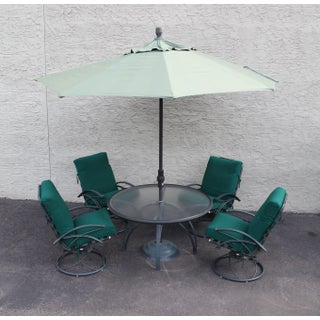 Homecrest Vintage 5 Piece Patio Dining Set Round Table + 4 Swivel Rocking Chairs Preview