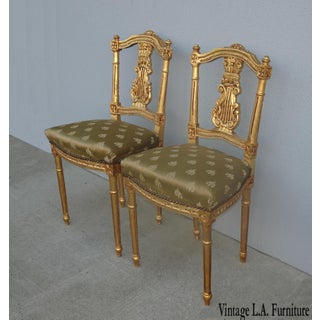 Vintage French Provincial Louis XVI Gold Gilt Accent Chairs - a Pair Preview