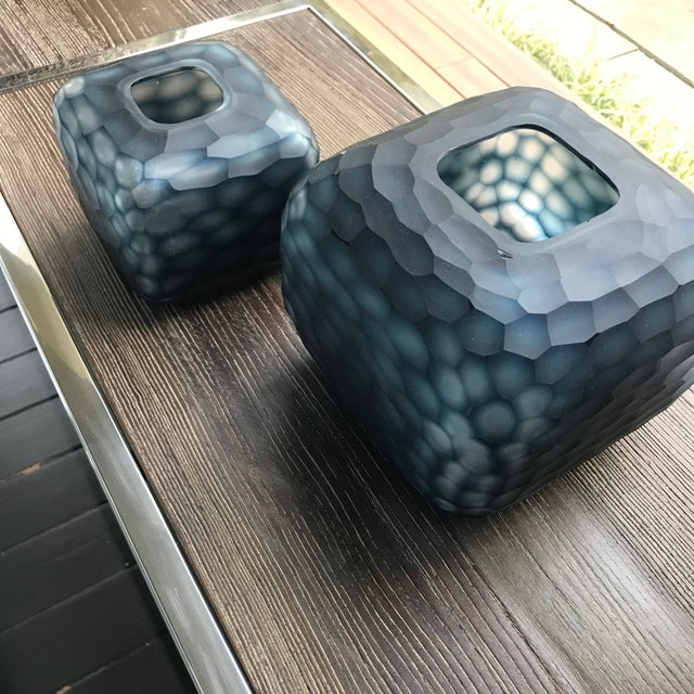 Contemporary Contemporary Navy Blue Carved Glass Vases - a Pair For Sale - Image 3 of 5