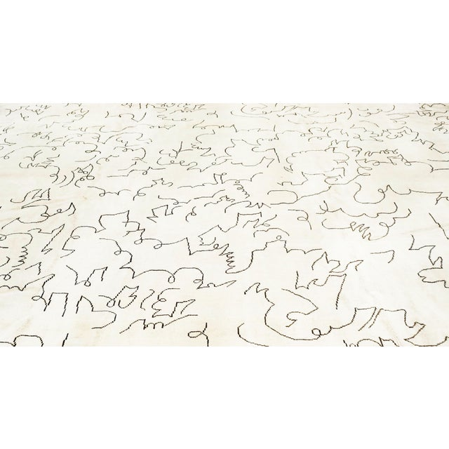 Abstract Boccara Limited Edition Artistic Rug Homage to Jean Cocteau, White For Sale - Image 3 of 5