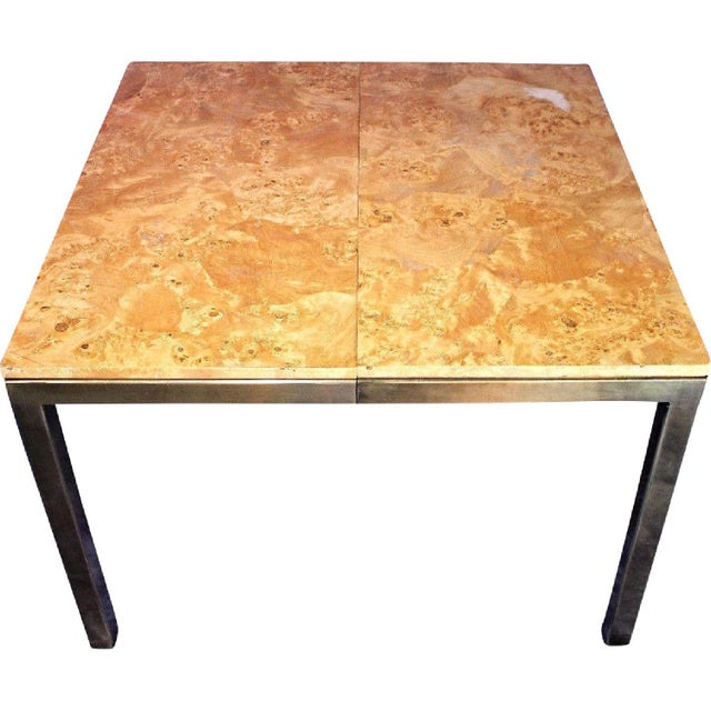 Brass Milo Baughman Style Burled Wood & Brass Square Dining Table For Sale - Image 7 of 10