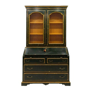 Dark Green and Golden Yellow Distressed Painted Fall Front Secretary Bookcase For Sale