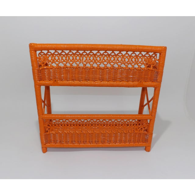 Mid 20th Century Mid Century Modern Orange Wicker Bathroom Shelf For Sale - Image 5 of 8