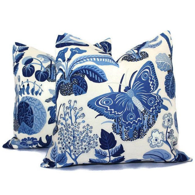"""Contemporary 20"""" x 20"""" Schumacher Butterfly in Blue Decorative Pillow Cover For Sale - Image 3 of 5"""