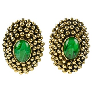 French Artisan Designer Clip on Earrings Gilt Metal With Poured Glass Cabochon For Sale