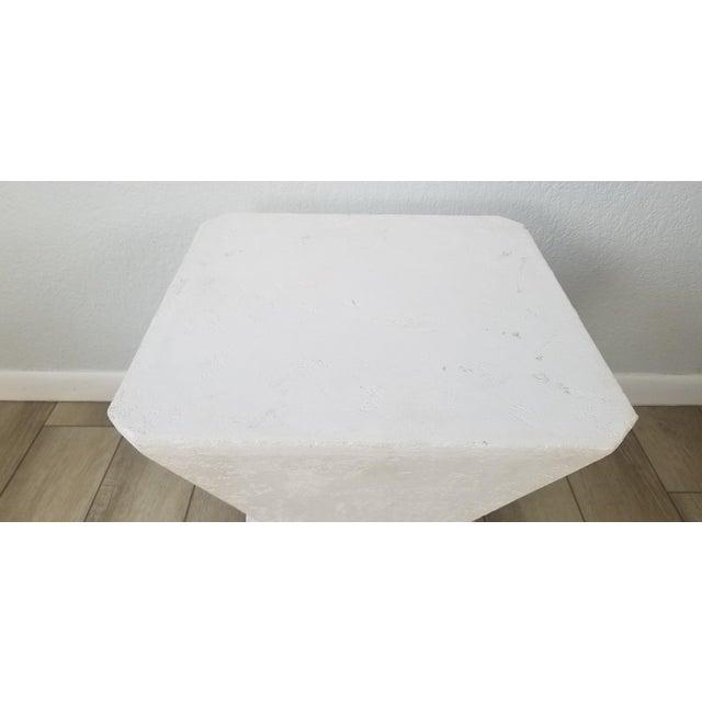 1970s Vintage Postmodern Geometric Plaster Side Table For Sale - Image 5 of 13