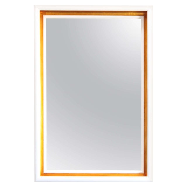 Paul Marra Design Cove Mirror in Lacquer and Gold For Sale