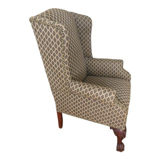1940s Vintage Mahogany Shell Motif Upholstered Wing Chair For Sale