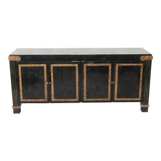 1970s Mid-Century Modern Tessilated Marble Black and Brown Credenza/ Buffet/ Sideboard For Sale