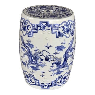 1970s Vintage Blue and White Chinoiserie Chic Garden Stool For Sale