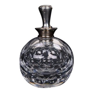 Early 20th Century Hawkes Crystal & Sterling Perfume Bottle For Sale