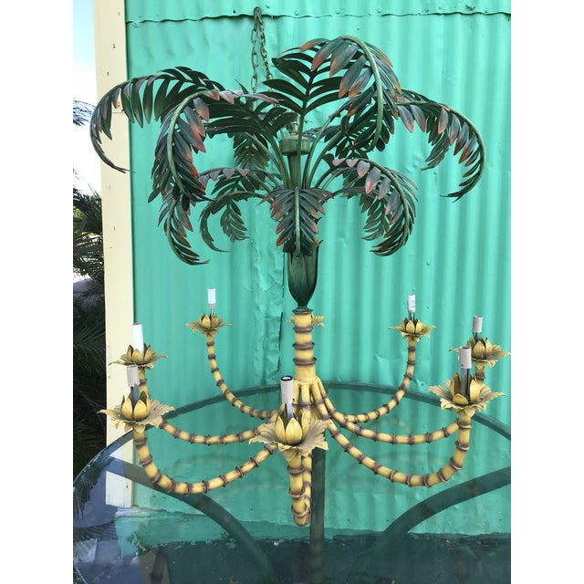 Large Palm Tree Leaf Faux Bamboo Metal Chandelier For Sale - Image 12 of 13