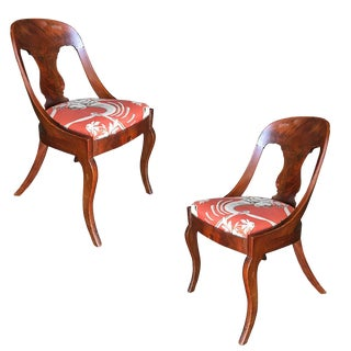 Streamline Art Deco Mahogany Side Chairs - A Pair For Sale