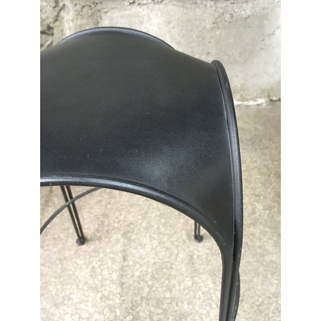 1980s Modern Iron Barstools With Black Leather Tops- Set of 4 For Sale - Image 9 of 11